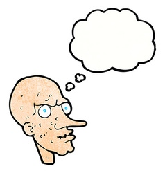 Cartoon evil old man with thought bubble vector