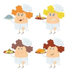 Cooks women with trays set vector image