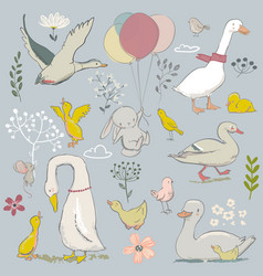Cute farm birds set vector