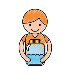 Cute little boy character with bottle water vector