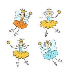 Fairy princess with a magic wand set vector image vector image