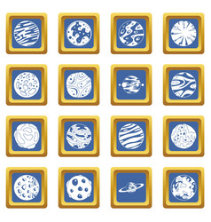 Fantastic planets icons set blue vector
