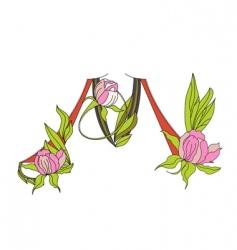 floral font 2 letter m vector image