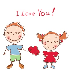 funny doodles girl and boy vector image vector image