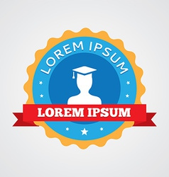 Graduate student vintage badge label icon vector