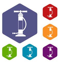 Hand air pump icons set vector