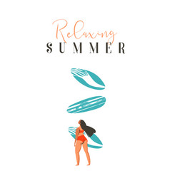 Hand drawn abstract cute summer time beach vector