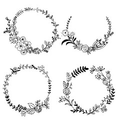 hand drawn set of floral wreaths vector image