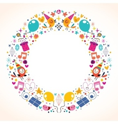 Happy birthday circle frame border design vector