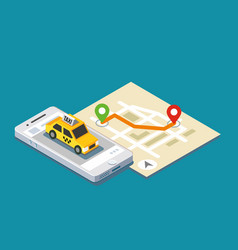 Isometric taxi location and map vector
