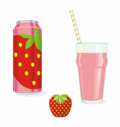 juice cans and glass vector image vector image