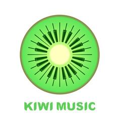 Music logo piano as kiwi fruit icon colorful vector