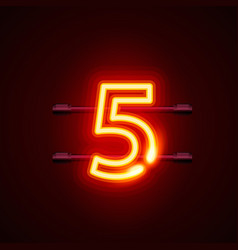 Neon city font sign number 5 signboard five vector