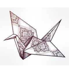 ornate stylized paper crane vector image