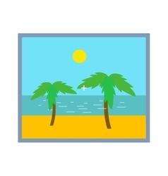Palm tree on beach photo frame isolated vector