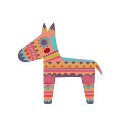 Pinata colorful patterned donkey cartoon vector