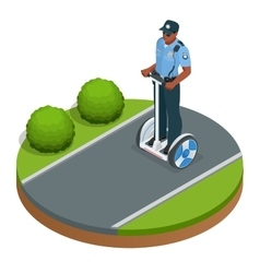 Police officer on fashionable two-wheeled Self vector image vector image