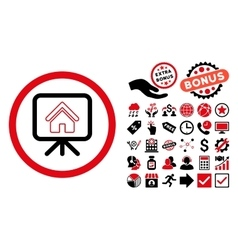 Project slideshow flat icon with bonus vector