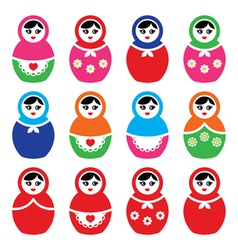 Russian doll retro babushka colorful icons vector image vector image