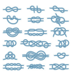 Sea boat knots set isolated on vector