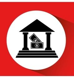 Silhouette bank building bill money cash icon vector