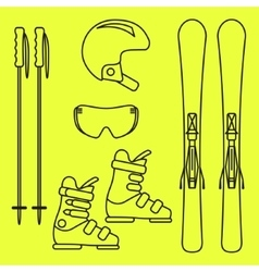 Ski gear line icon set vector