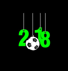 Soccer ball and 2018 hanging on strings vector