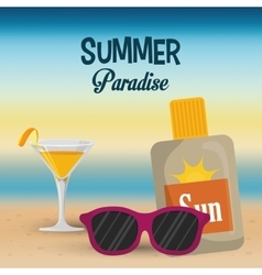 Summer paradise beach cocktail sunglasses and sun vector