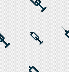 syringe icon sign Seamless pattern with geometric vector image vector image