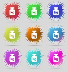Weight icon sign A set of nine original needle vector image