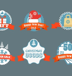 Winter discount labels vintage labels vector image vector image