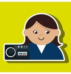 Woman voice recorder news vector