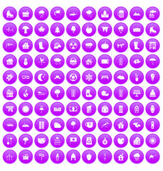 100 country house icons set purple vector