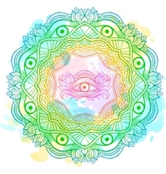 Mandala watercolor with the eye of providence vector