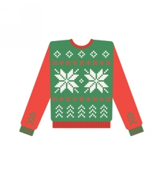 Ugly christmas sweater with deer pattern vector