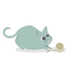 Cute cat playing with ball of yarn Comic cartoon vector image