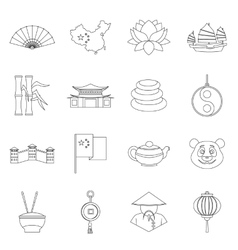 China travel symbols icons set outline style vector