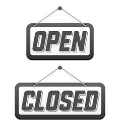 Retro signs Open and Closed vector image