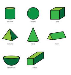 3d shape set eps10 vector image