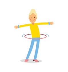 Cute blonde teenager girl spinning a hula hoop vector