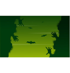 Scary zombie landscape on halloween day vector