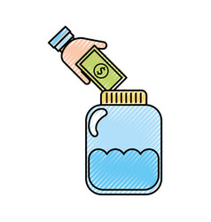 Mason jar bottle with bills vector