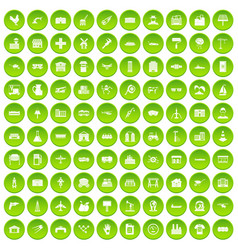 100 industry icons set green vector
