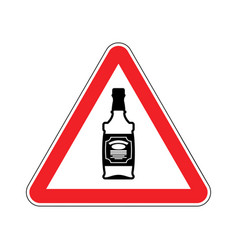 Attention alcohol bottle of whiskey on red vector