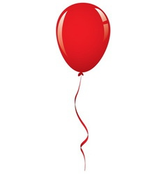 Red balloon ribbon vector