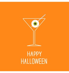 Martini glass with eyeball halloween card vector