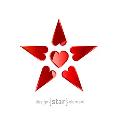 red Star made by hearts vector image