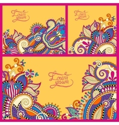 Set of floral yellow background template frame vector