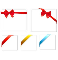 set with red bows and colored ribbons vector image