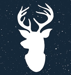 Hand drawn vintage label with a reindeer on vector